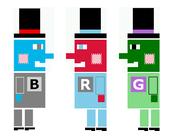 Bluebot, Greenbot, Redbot, the RGB Theater